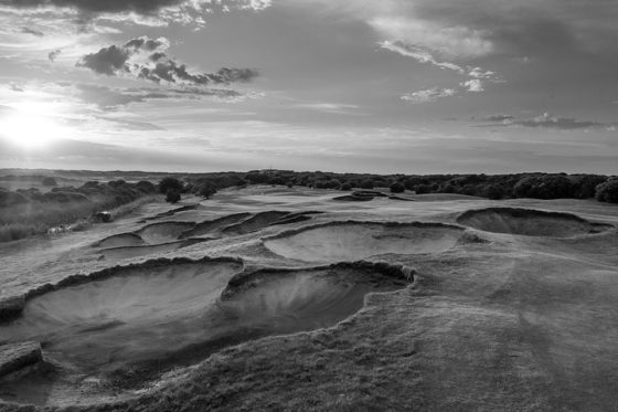 13th-Beach-5th-hole-sunrise-B&W